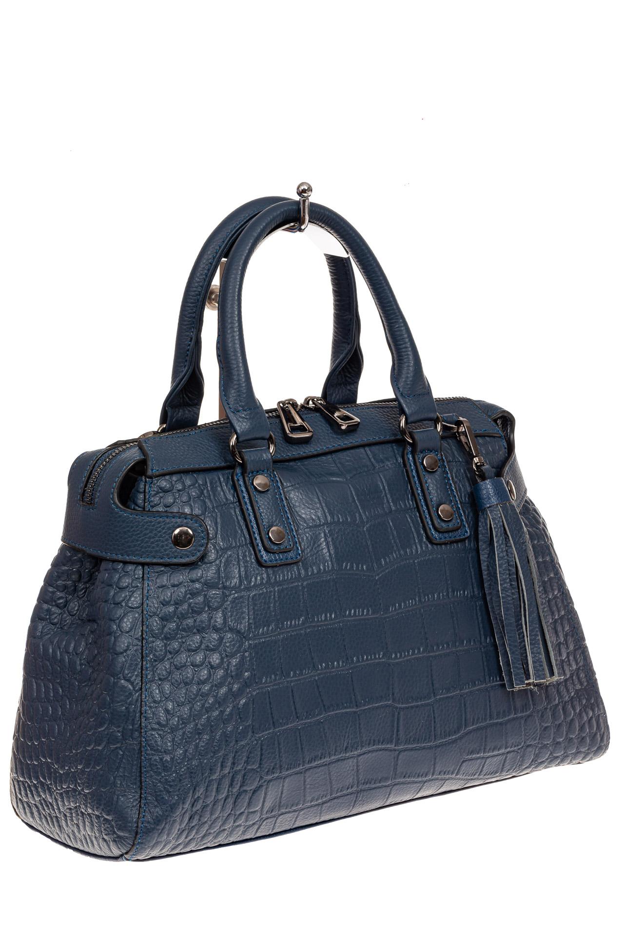 На фото 1 - Классическая женская сумка из натуральной кожи, цвет серо-голубой