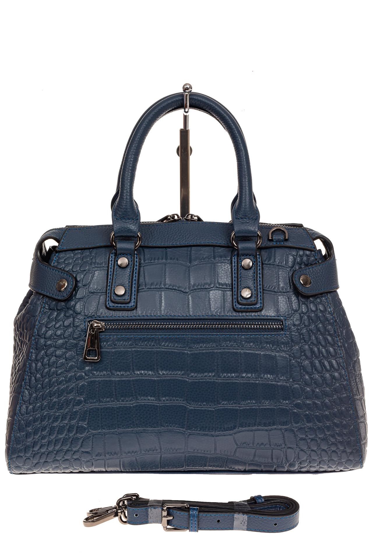 На фото 2 - Классическая женская сумка из натуральной кожи, цвет серо-голубой