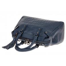 На фото 3 - Классическая женская сумка из натуральной кожи, цвет серо-голубой