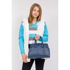 На фото 4 - Классическая женская сумка из натуральной кожи, цвет серо-голубой