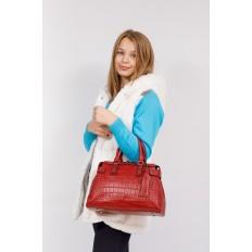 На фото 4 - Классическая женская сумка из натуральной кожи, цвет красный