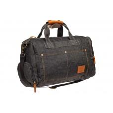 На фото 1 - Дорожная сумка из джинсовой ткани, цвет тем...
