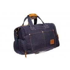 На фото 1 - Дорожная сумка из джинсовой ткани, цвет син...