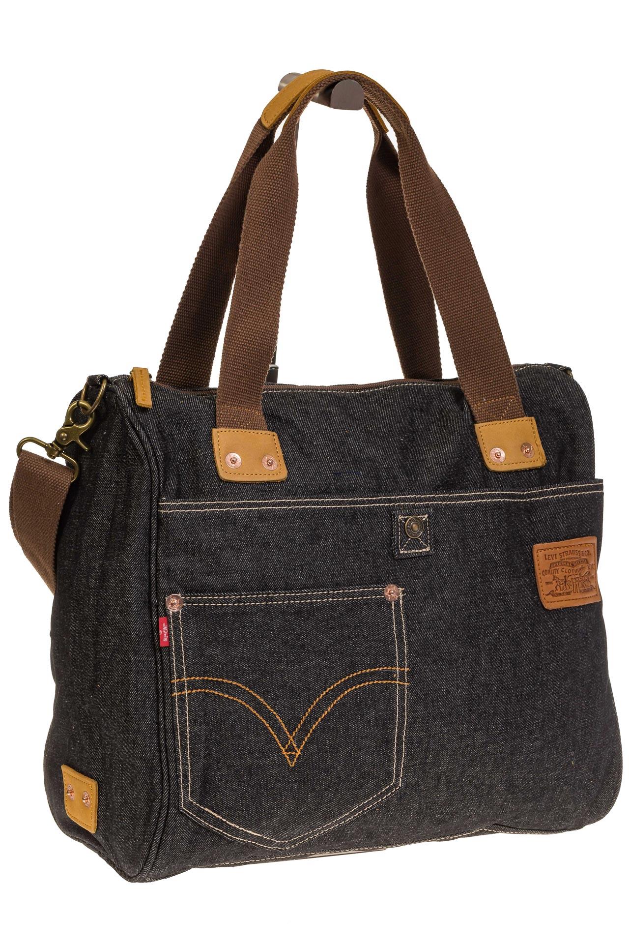 На фото 1 - Стильный джинсовый шоппер серо-черного цвета