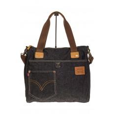 На фото 2 - Стильный джинсовый шоппер серо-черного цвета