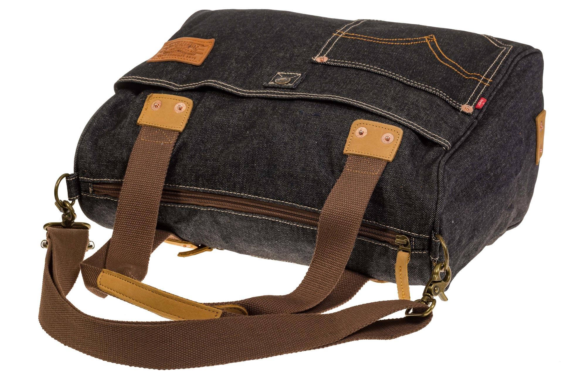 На фото 4 - Стильный джинсовый шоппер серо-черного цвета