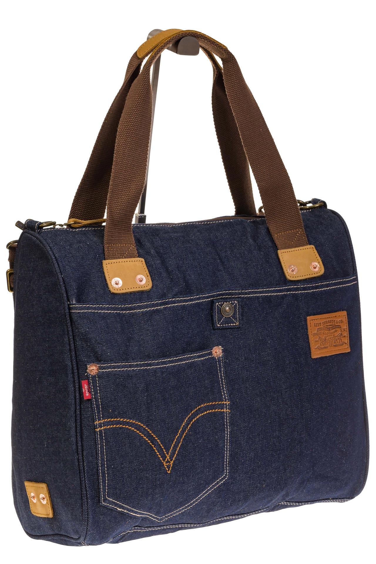 На фото 1 - Стильный джинсовый шоппер синего цвета