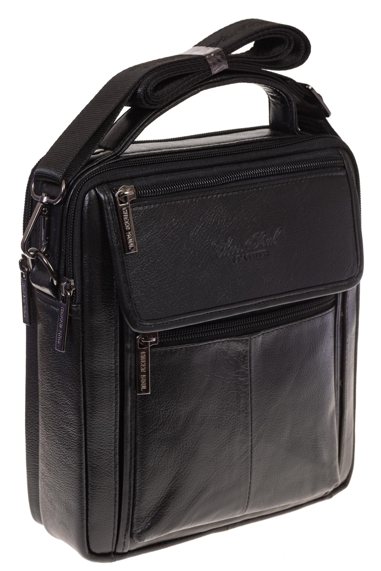 На фото сумка-визитница для мужчин черного цвета из натуральной текстурной кожи, купить оптом в магазине Грета