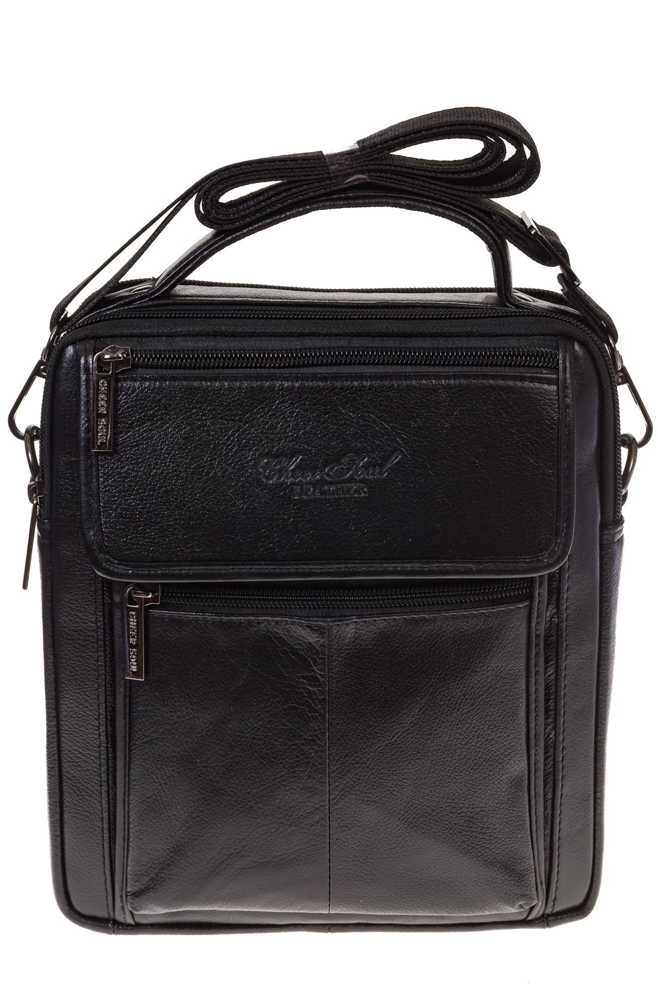 На фото 2 - Черная сумка-визитница из натуральной текстурной кожи