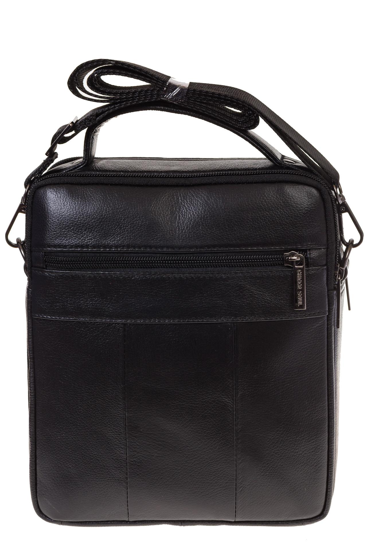 На фото 3 - Черная сумка-визитница из натуральной текстурной кожи