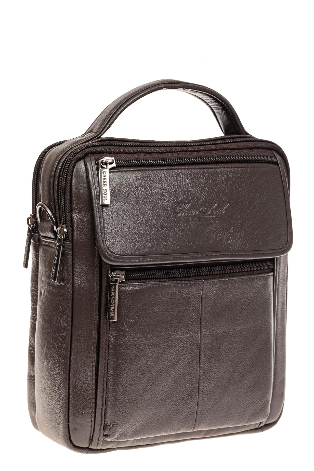 На фото 1 - Коричневая сумка-визитница из натуральной текстурной кожи