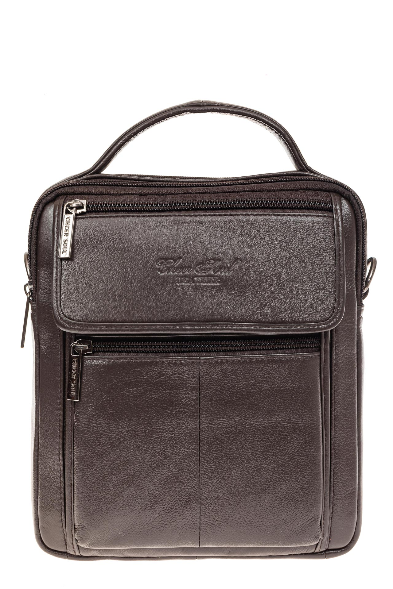 На фото 2 - Коричневая сумка-визитница из натуральной текстурной кожи