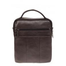 На фото 3 - Коричневая сумка-визитница из натуральной текстурной кожи