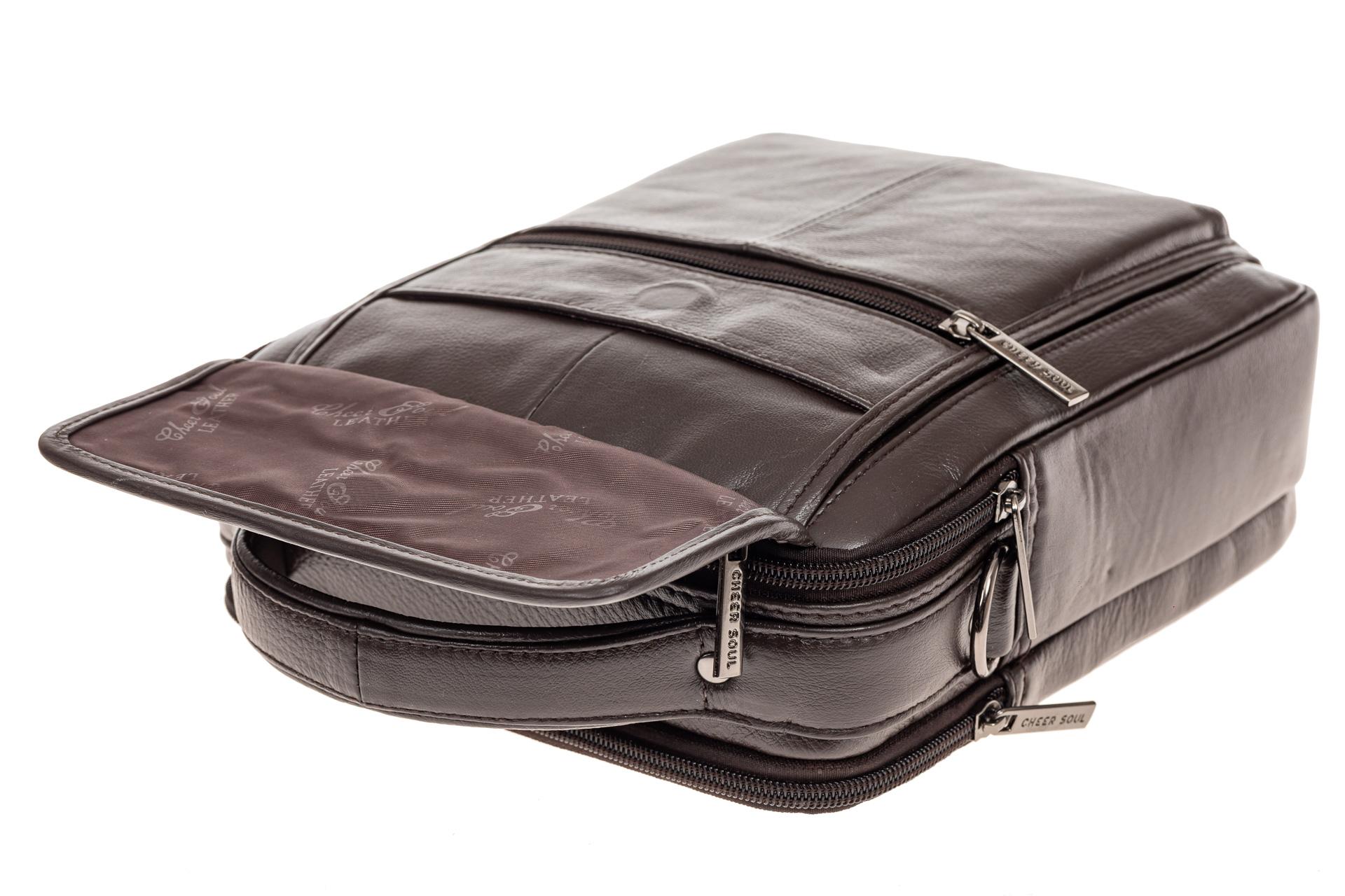 На фото 4 - Коричневая сумка-визитница из натуральной текстурной кожи