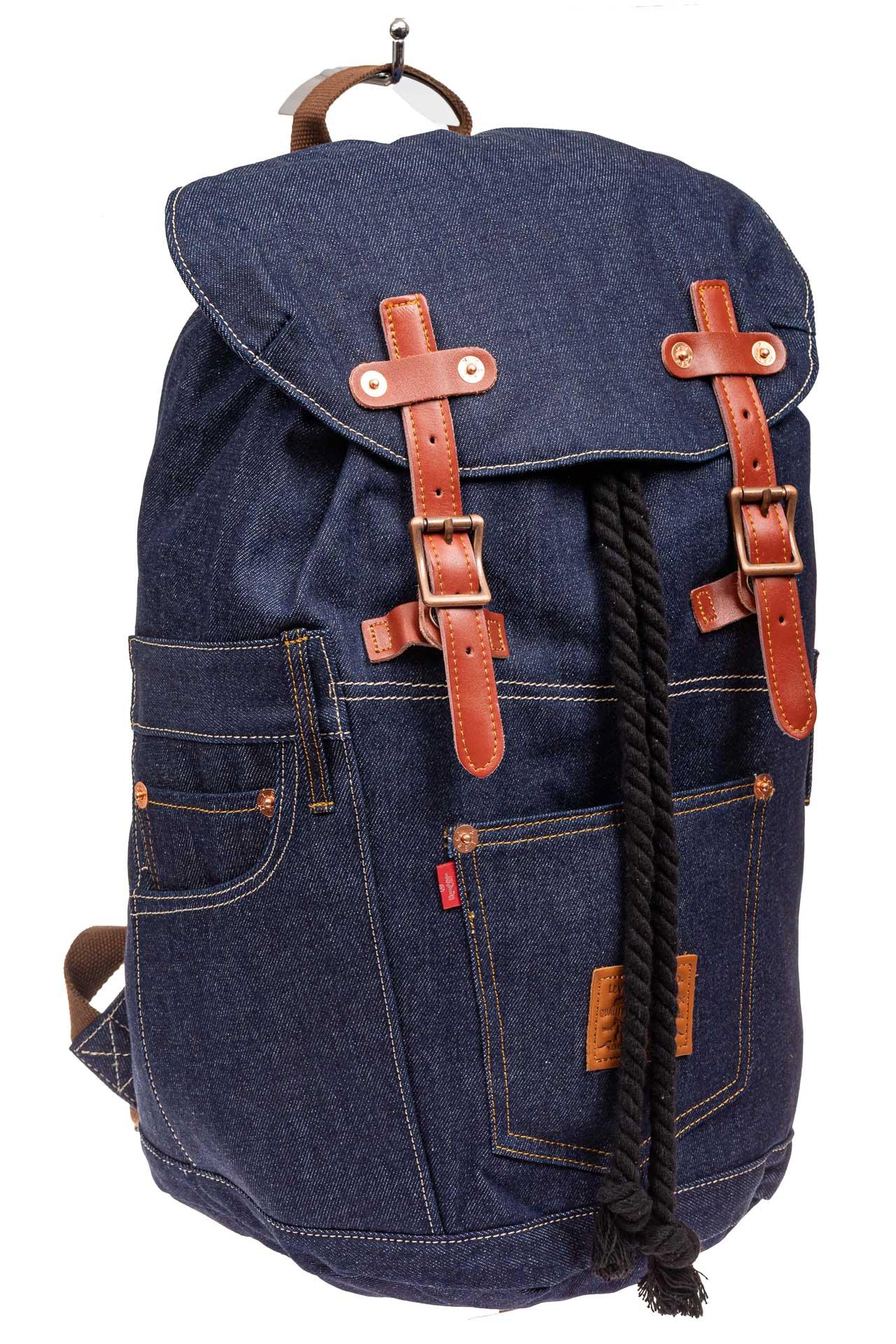 Городской рюкзак мужской из джинсовой ткани, цвет синий