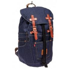 На фото 1 - Городской рюкзак мужской из джинсовой ткани, цвет синий