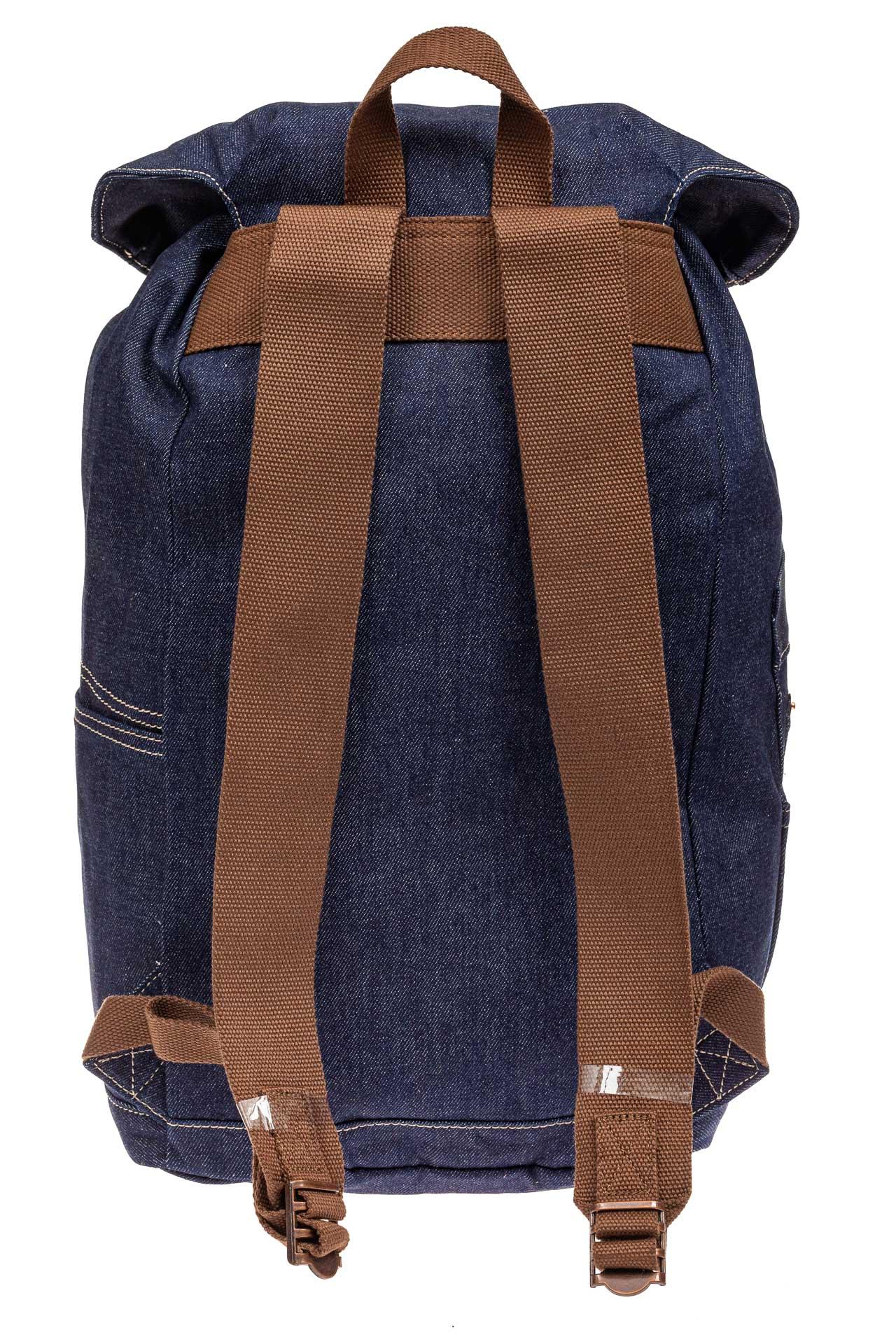 На фото 3 - Городской рюкзак мужской из джинсовой ткани, цвет синий