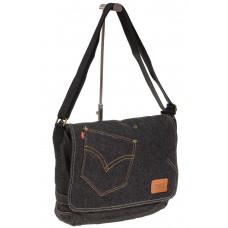 На фото 1 - Джинсовая сумка-почтальонка серо-черного цвета