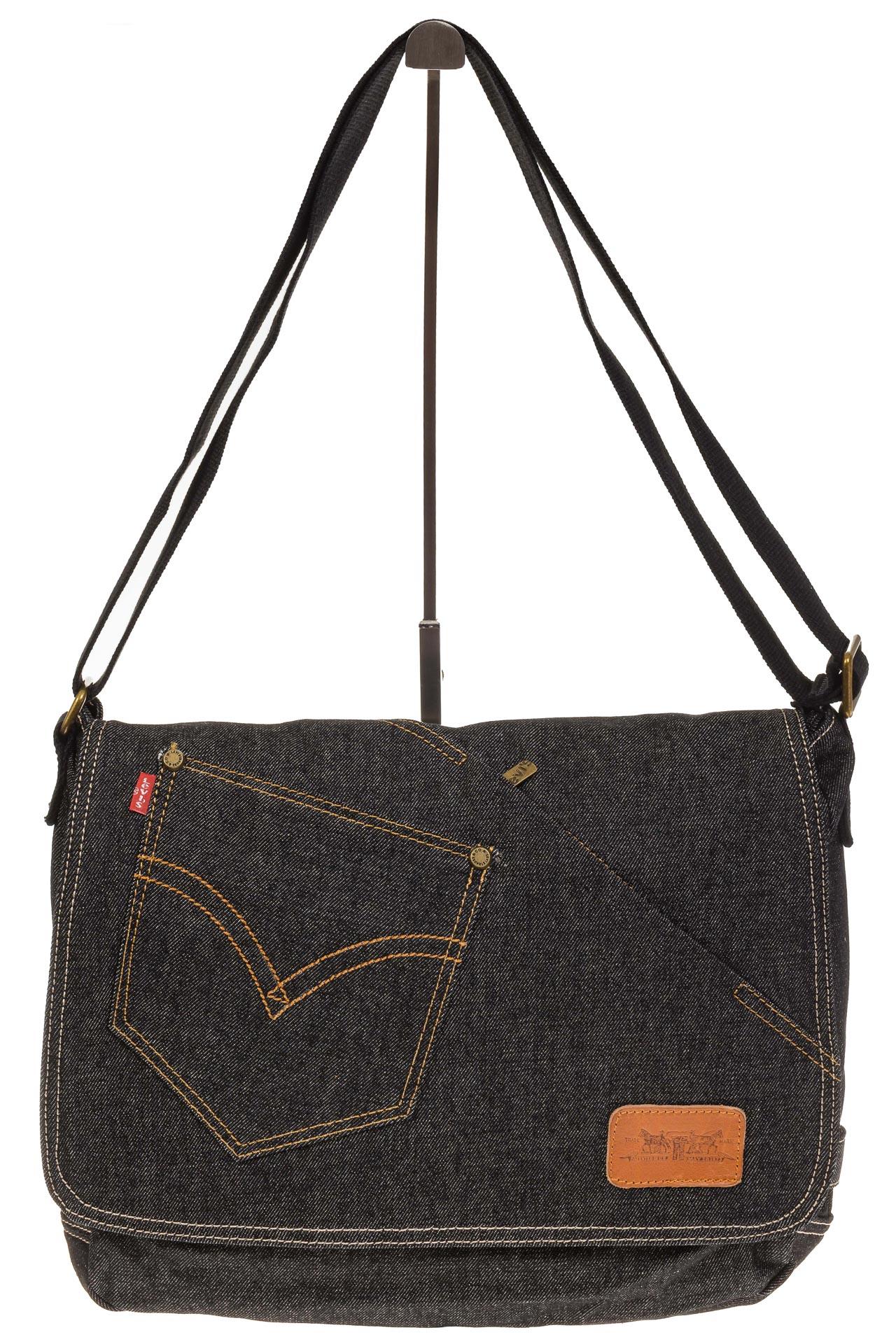 На фото 2 - Джинсовая сумка-почтальонка серо-черного цвета