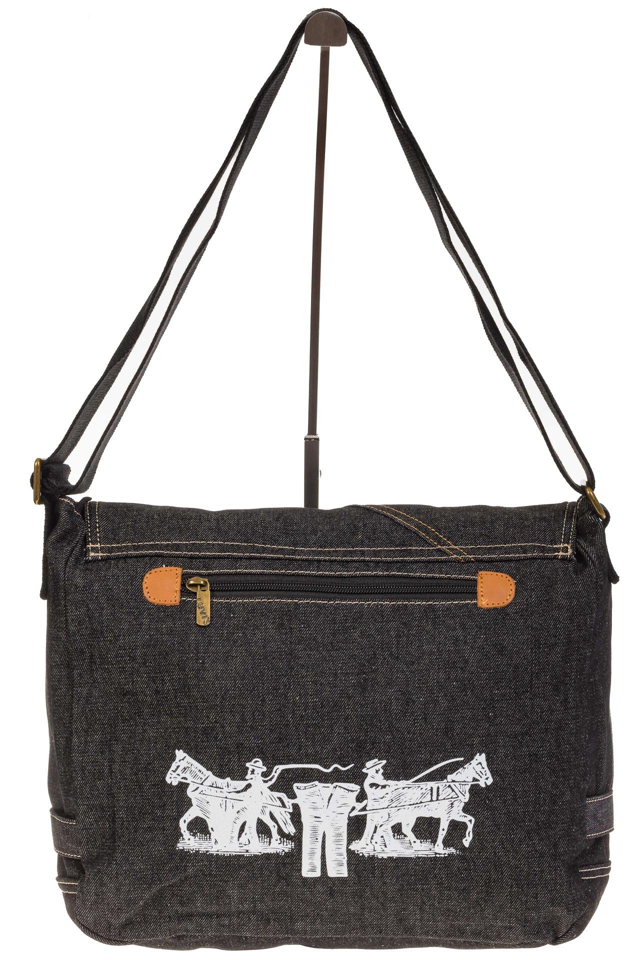 На фото 3 - Джинсовая сумка-почтальонка серо-черного цвета