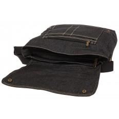 На фото 4 - Джинсовая сумка-почтальонка серо-черного цвета