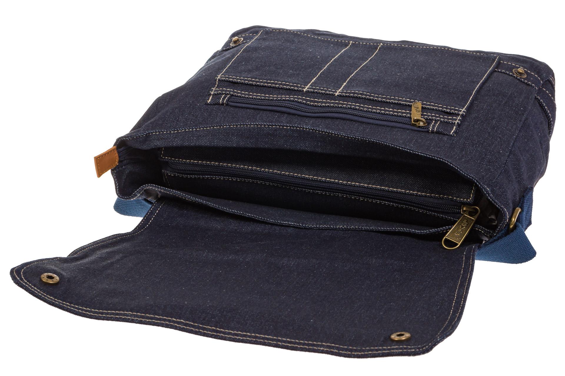 На фото 4 - Джинсовая сумка-почтальонка классического синего цвета