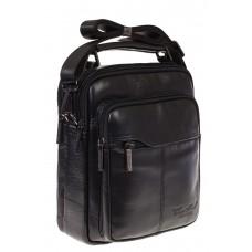 На фото маленькая сумка для мужчин черного цвета из натуральной кожи, купить оптом в магазине Грета