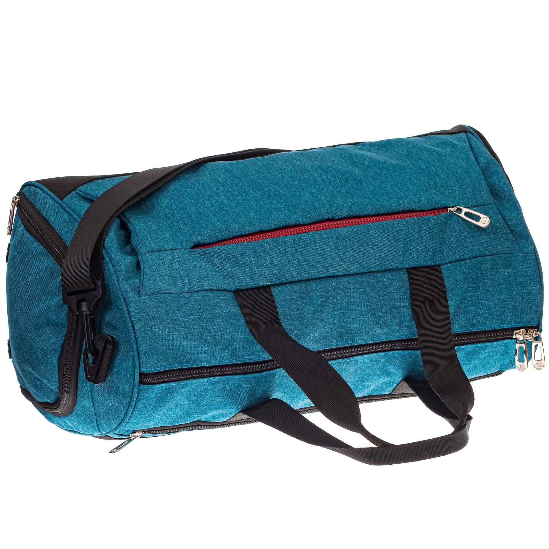 На фото 3 - Вместительная дорожная сумка, цвет голубой