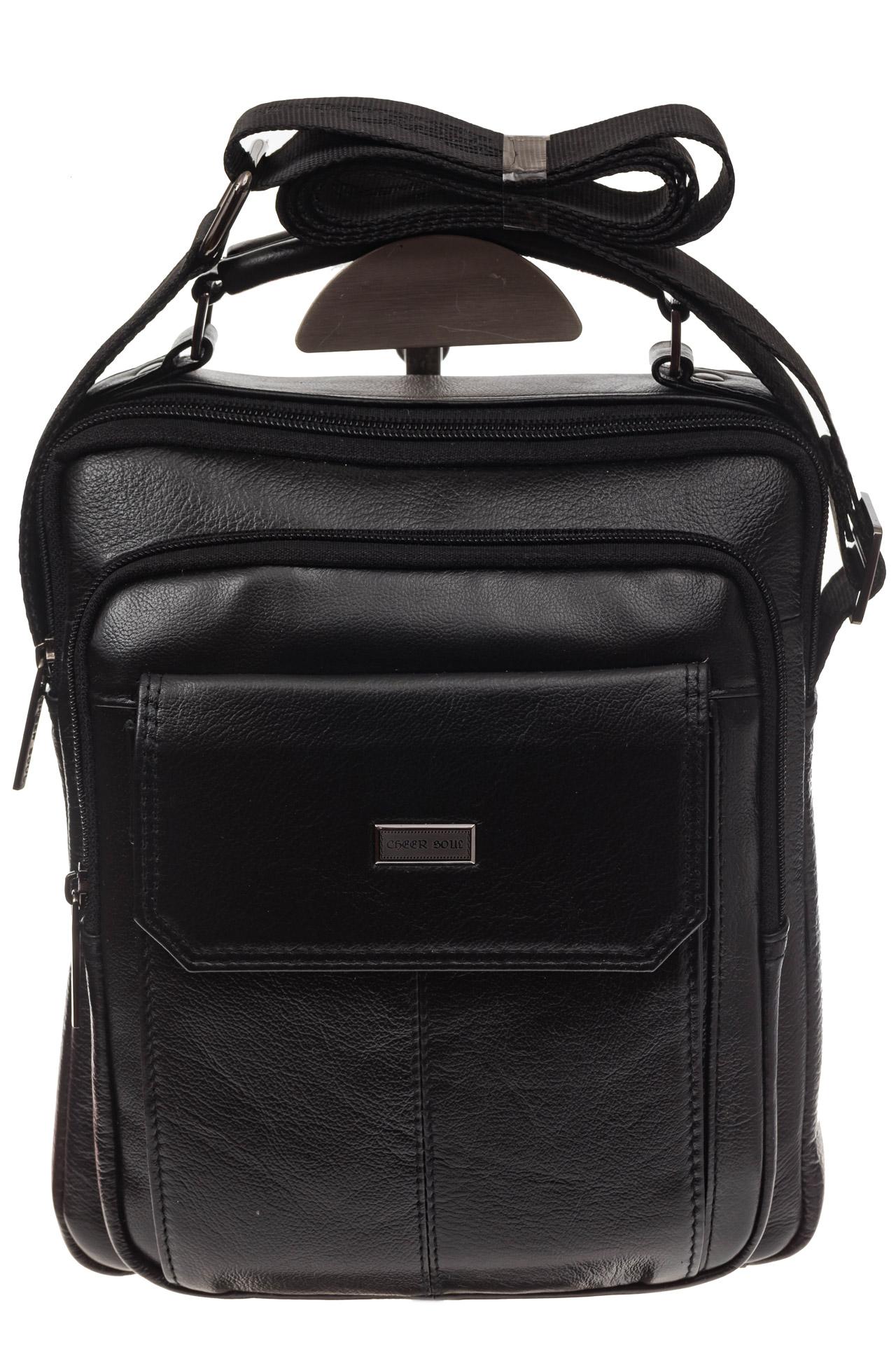 На фото 2 - Мужская горизонтальная сумка из натуральной кожи