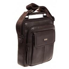 На фото 1 - Мужская горизонтальная сумка из натуральной кожи, цвет коричневый