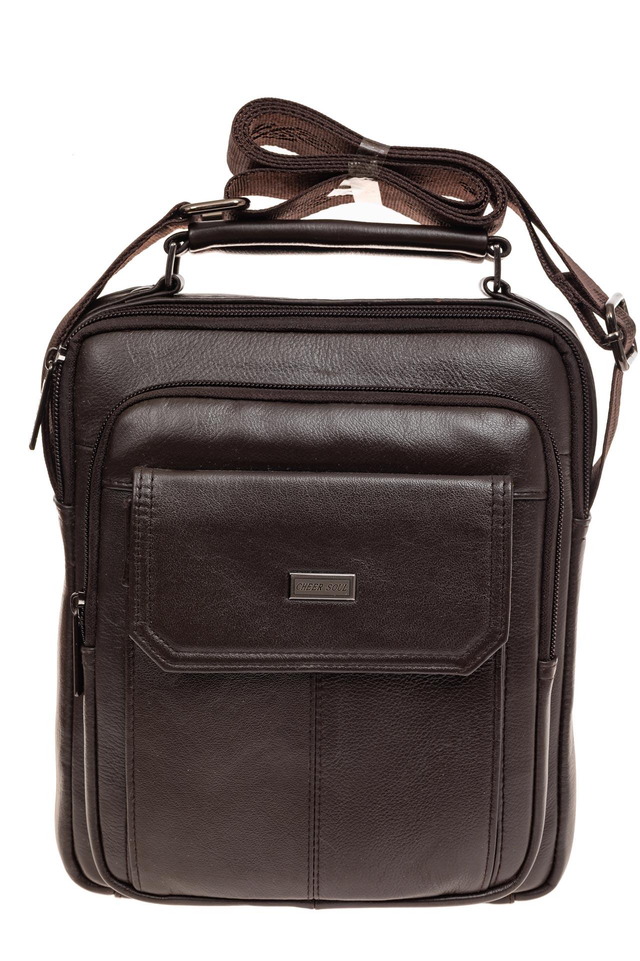 На фото 2 - Мужская горизонтальная сумка из натуральной кожи, цвет коричневый