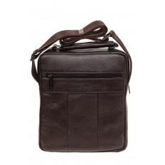 На фото 3 - Мужская горизонтальная сумка из натуральной кожи, цвет коричневый