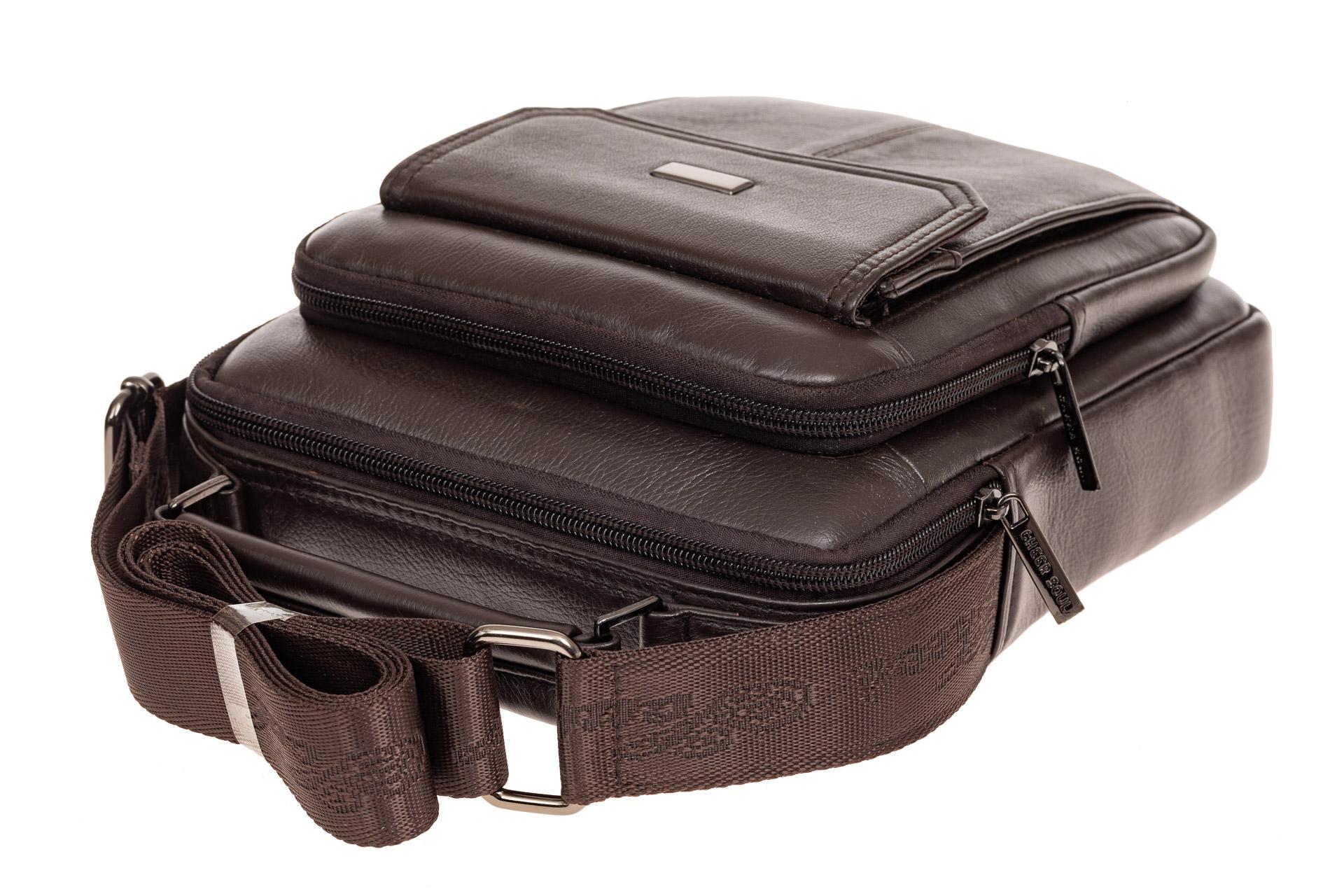 На фото 4 - Мужская горизонтальная сумка из натуральной кожи, цвет коричневый