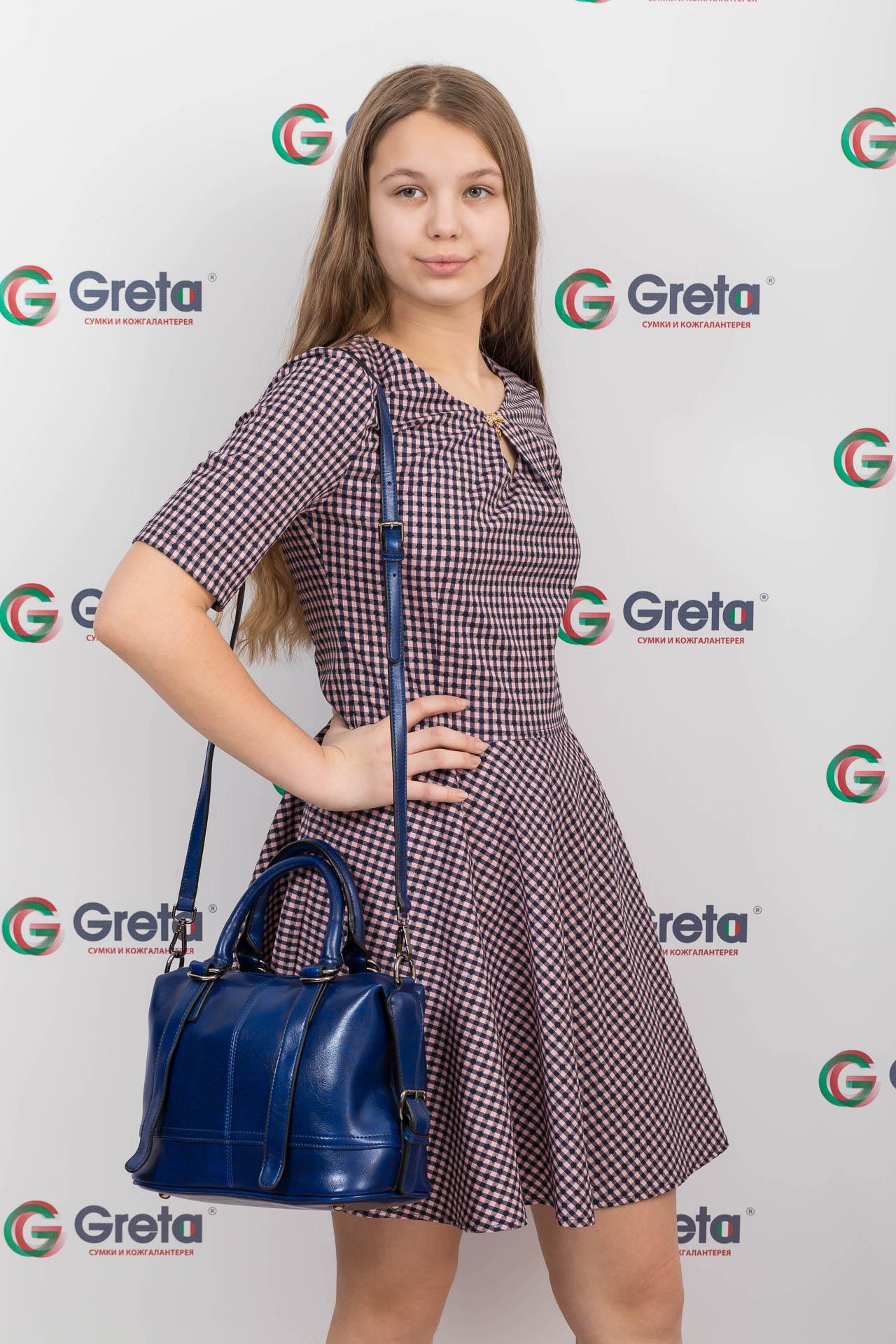 На фото 4 - Женская сумка из натуральной кожи, цвет синий