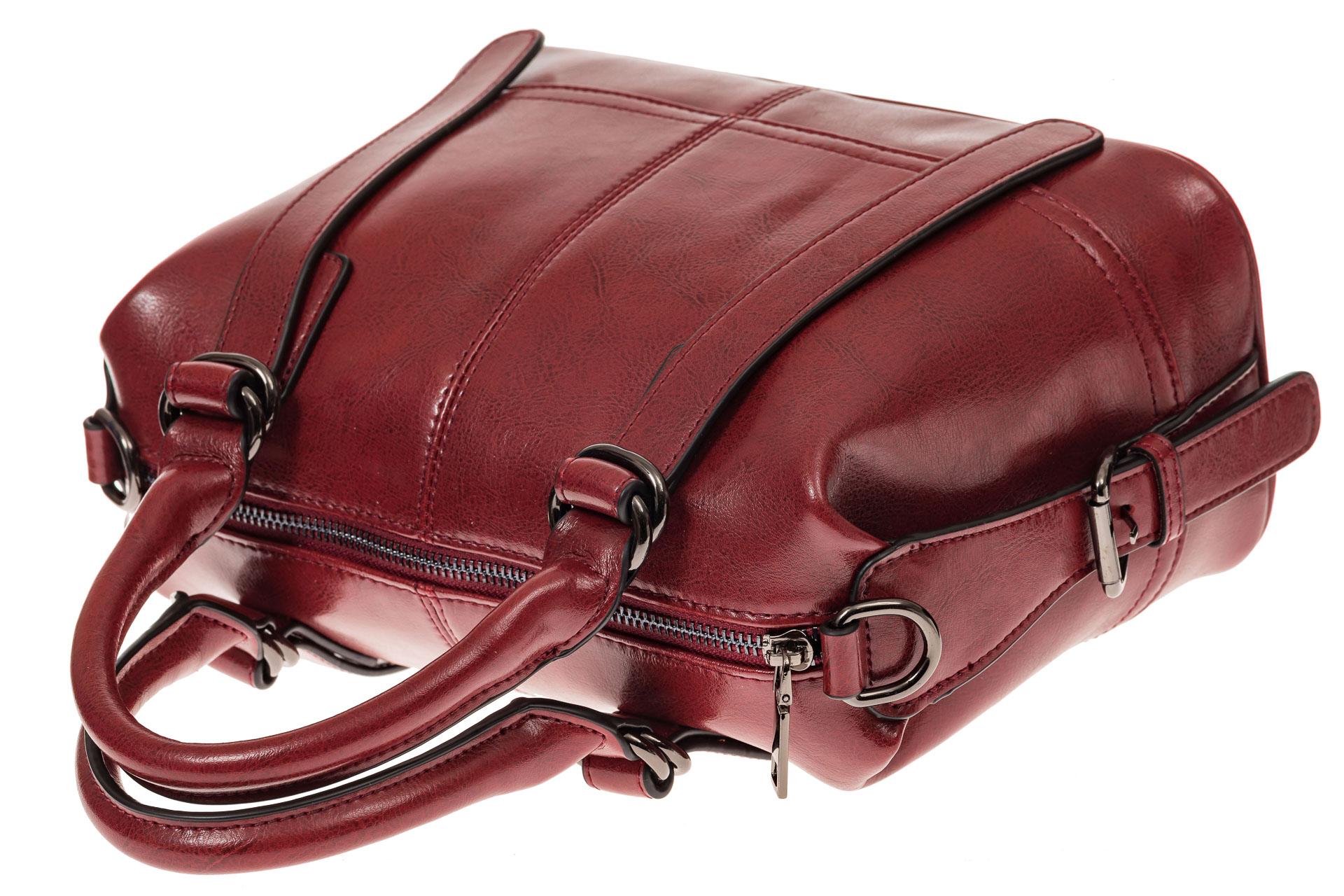 На фото 3 - Женская сумка из натуральной кожи, цвет красный