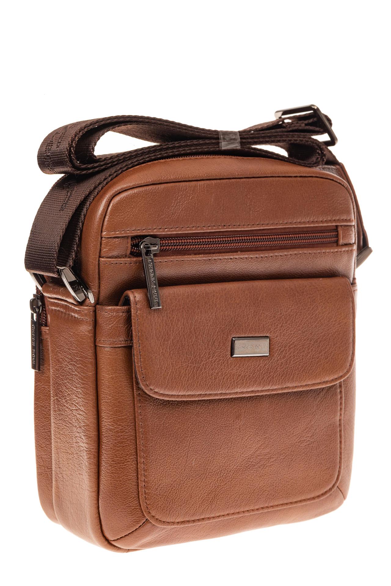На фото 1 - Небольшая мужская сумка из натуральной кожи, цвет рыжий