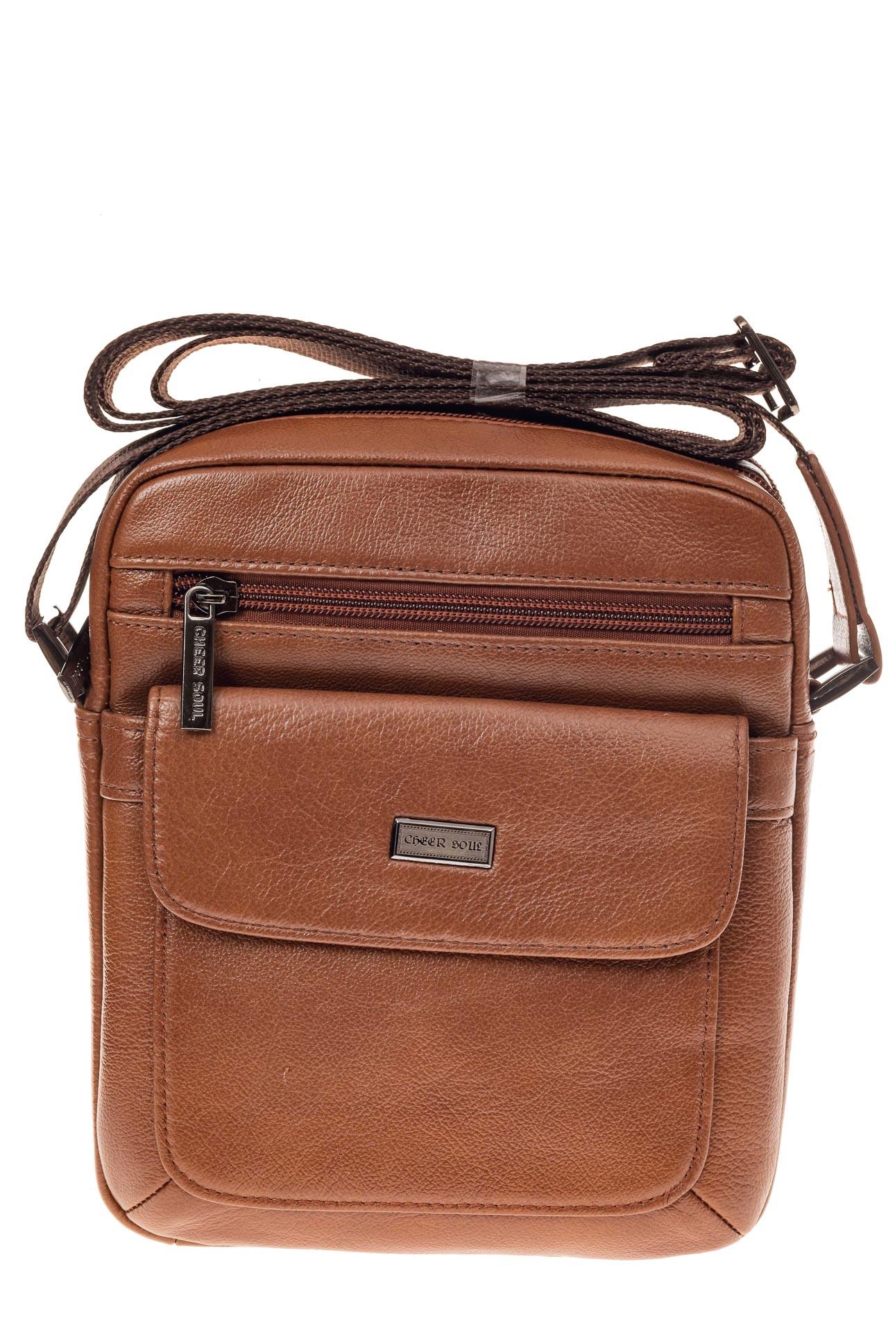 На фото 2 - Небольшая мужская сумка из натуральной кожи, цвет рыжий