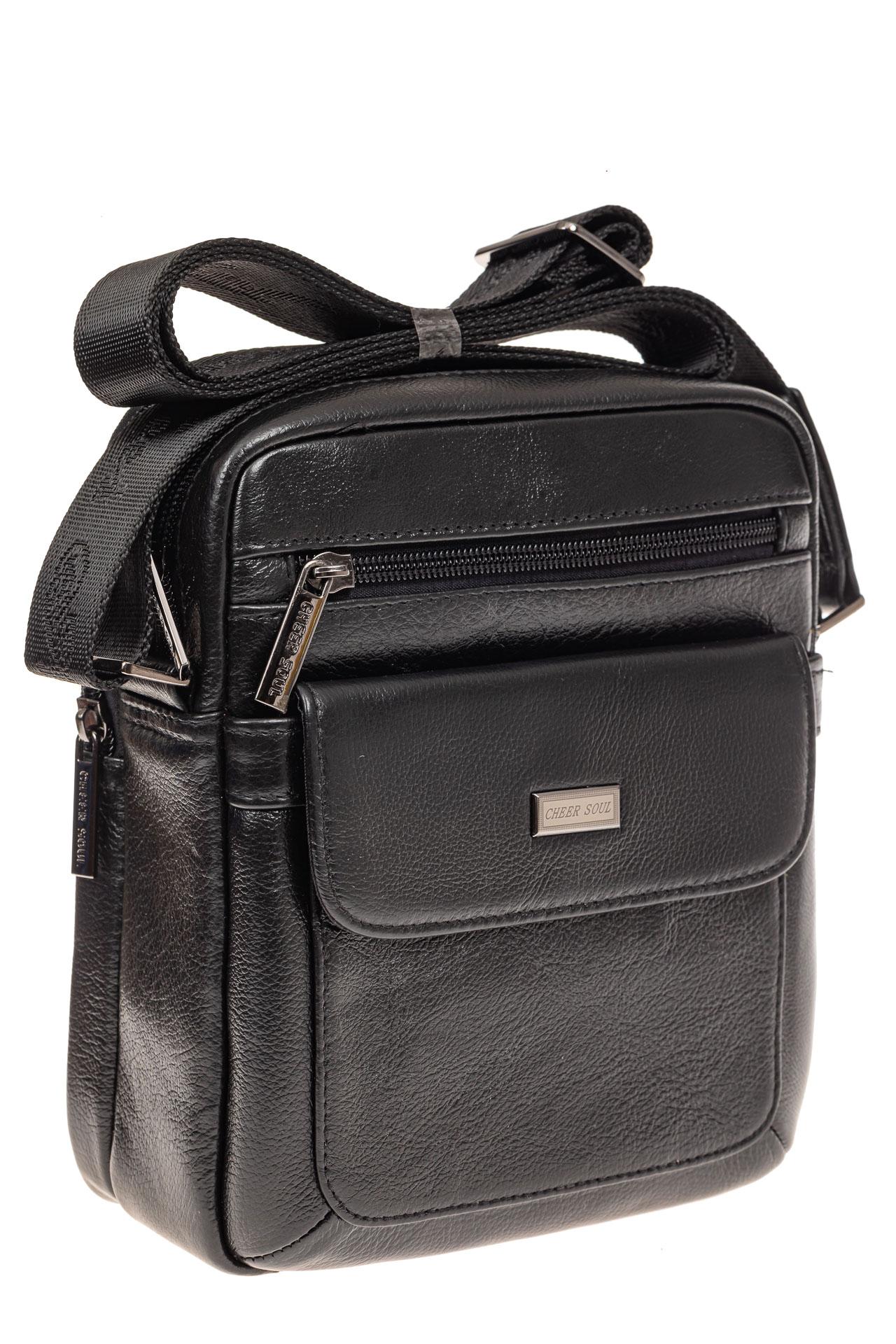 На фото 1 - Небольшая мужская сумка из натуральной кожи, цвет черный