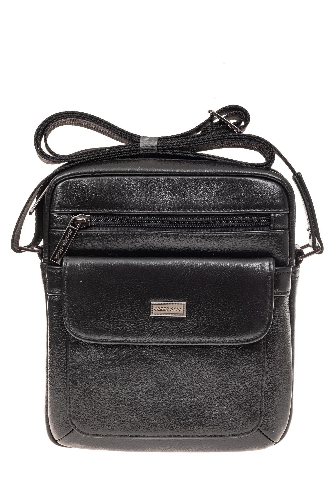 На фото 2 - Небольшая мужская сумка из натуральной кожи, цвет черный