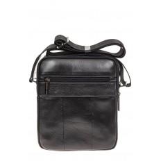 На фото 3 - Небольшая мужская сумка из натуральной кожи, цвет черный