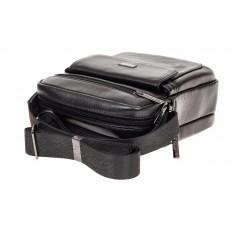 На фото 4 - Небольшая мужская сумка из натуральной кожи, цвет черный