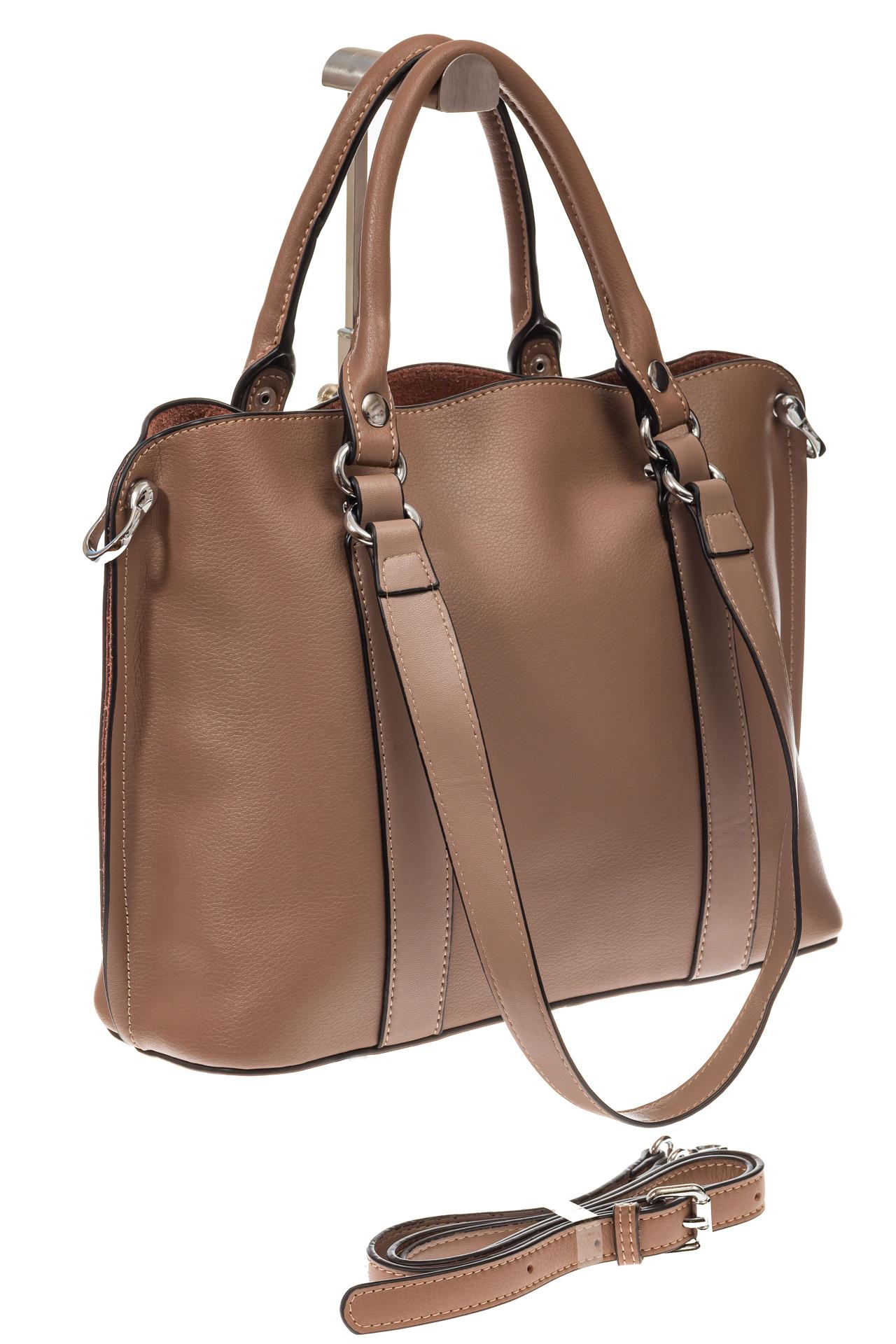 На фото 1 - Бежево-пудровая сумка-трансформер из натуральной кожи