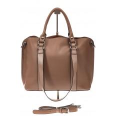 На фото 2 - Бежево-пудровая сумка-трансформер из натуральной кожи