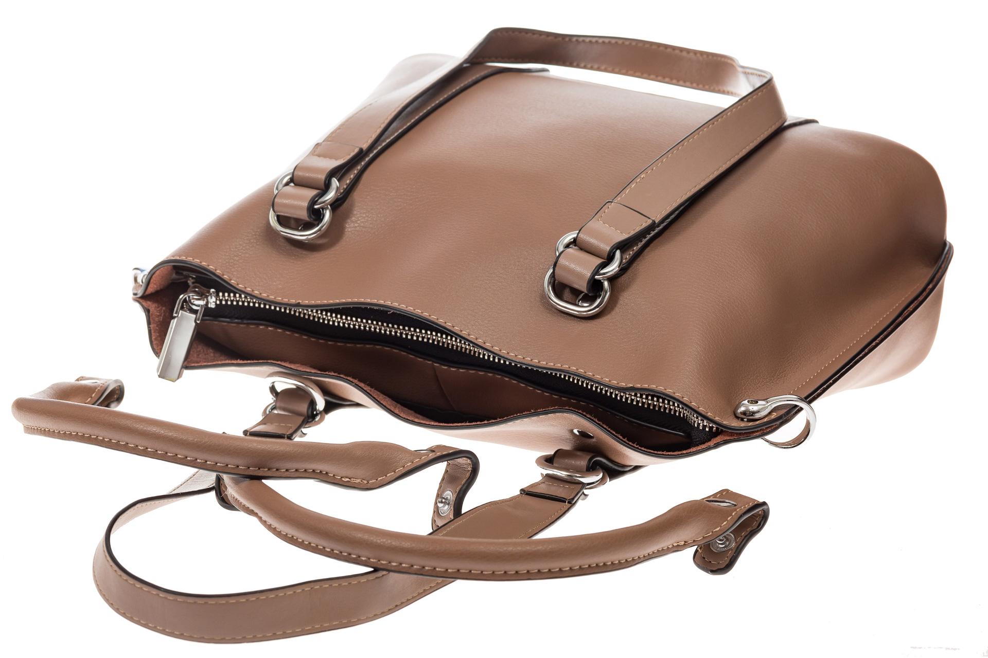 На фото 4 - Бежево-пудровая сумка-трансформер из натуральной кожи