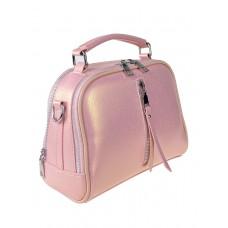 На фото 1 - Летняя женская сумка-купол из фактурной экокожи, цвет розовый с перламутром