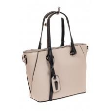 На фото 1 - Небольшая сумка-шоппер из натуральной кожи, цвет белый