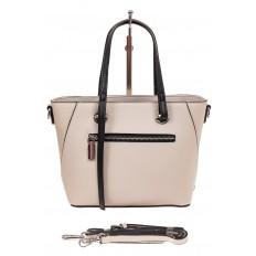 На фото 2 - Небольшая сумка-шоппер из натуральной кожи, цвет белый