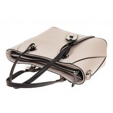 На фото 3 - Небольшая сумка-шоппер из натуральной кожи, цвет белый