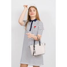 На фото 4 - Небольшая сумка-шоппер из натуральной кожи, цвет белый