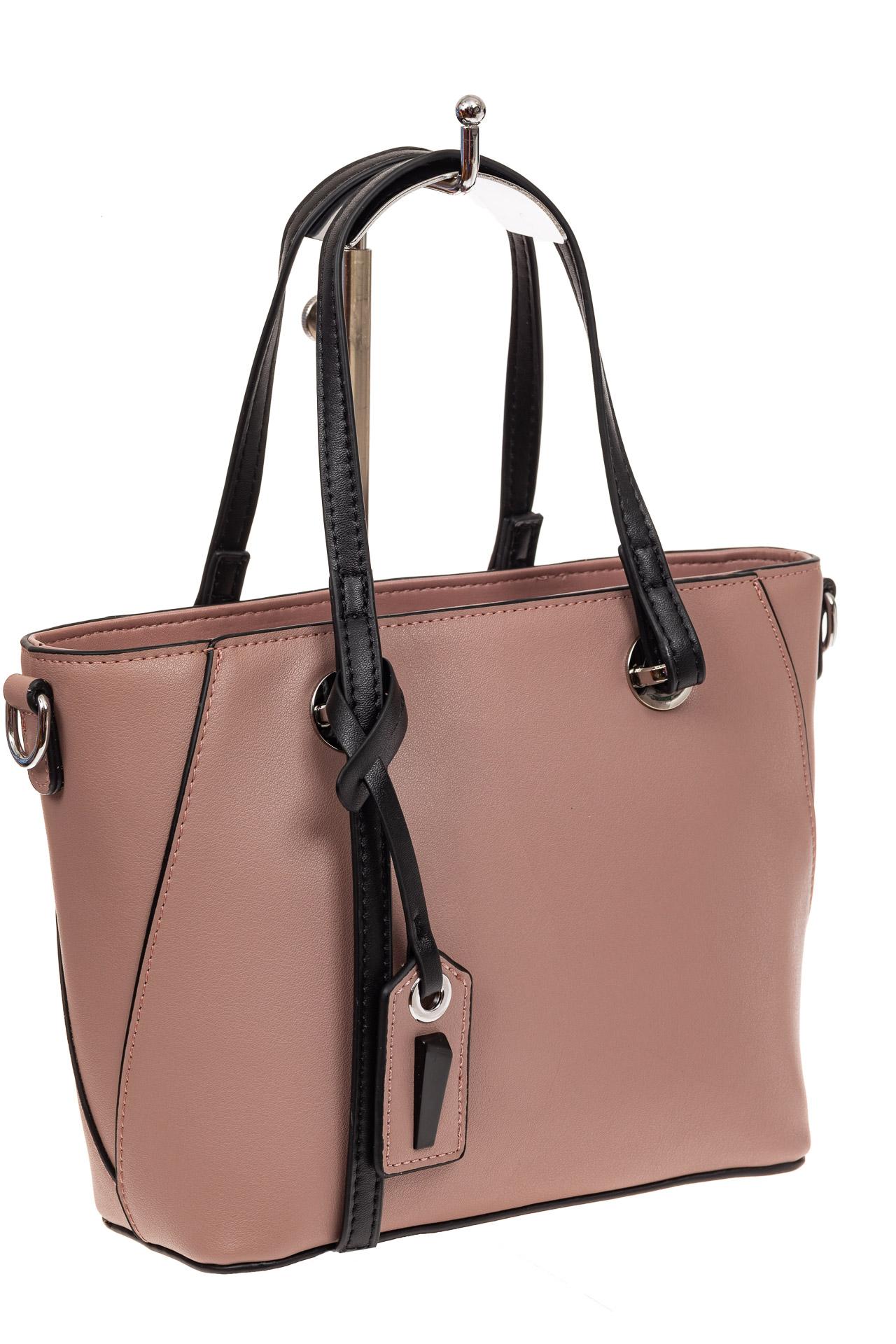 На фото 1 - Небольшая сумка-шоппер из натуральной кожи, цвет пудра